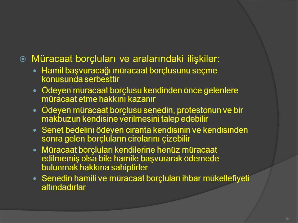  Müracaat hakkının düşmesi: Poliçelerde kabule arzın ve poliçe ve bonolarda ödeme için ibrazın zamanında yapılmaması Protestonun zamanında düzenlenmemesi 24