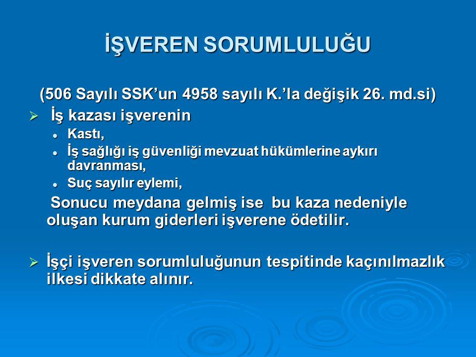 İŞVEREN SORUMLULUĞU (506 Sayılı SSK'un 4958 sayılı K.'la değişik 26.