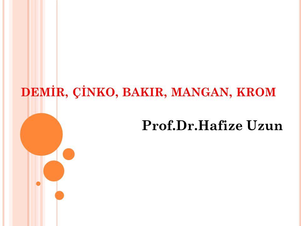 DEMİR, ÇİNKO, BAKIR, MANGAN, KROM Prof.Dr.Hafize Uzun