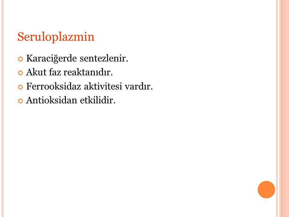 Seruloplazmin Karaciğerde sentezlenir.Akut faz reaktanıdır.