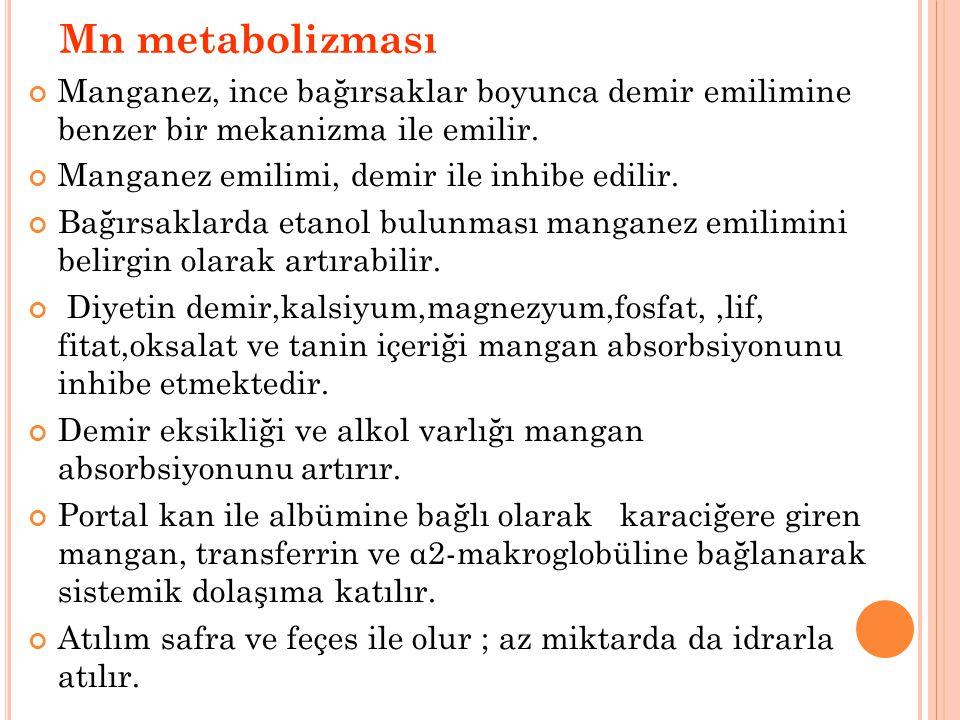 Mn metabolizması Manganez, ince bağırsaklar boyunca demir emilimine benzer bir mekanizma ile emilir.