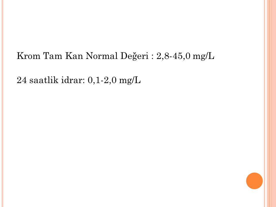 Krom Tam Kan Normal Değeri : 2,8-45,0 mg/L 24 saatlik idrar: 0,1-2,0 mg/L