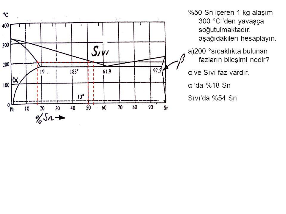 %50 Sn içeren 1 kg alaşım 300 °C 'den yavaşça soğutulmaktadır, aşağıdakileri hesaplayın. a)200 °sıcaklıkta bulunan fazların bileşimi nedir? α ve Sıvı