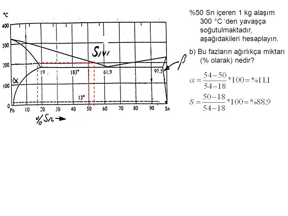 %50 Sn içeren 1 kg alaşım 300 °C 'den yavaşça soğutulmaktadır, aşağıdakileri hesaplayın. b) Bu fazların ağırlıkça miktarı (% olarak) nedir?