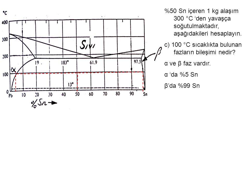 %50 Sn içeren 1 kg alaşım 300 °C 'den yavaşça soğutulmaktadır, aşağıdakileri hesaplayın. c) 100 °C sıcaklıkta bulunan fazların bileşimi nedir? α ve β