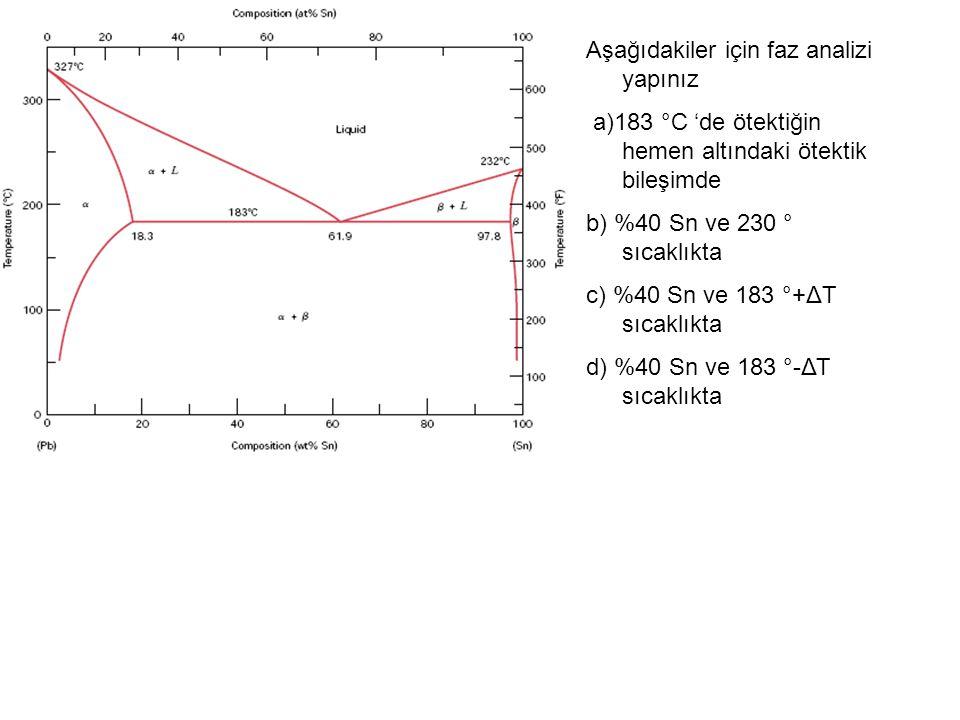Aşağıdakiler için faz analizi yapınız a)183 °C 'de ötektiğin hemen altındaki ötektik bileşimde b) %40 Sn ve 230 ° sıcaklıkta c) %40 Sn ve 183 °+ΔT sıcaklıkta d) %40 Sn ve 183 °-ΔΤ sıcaklıkta