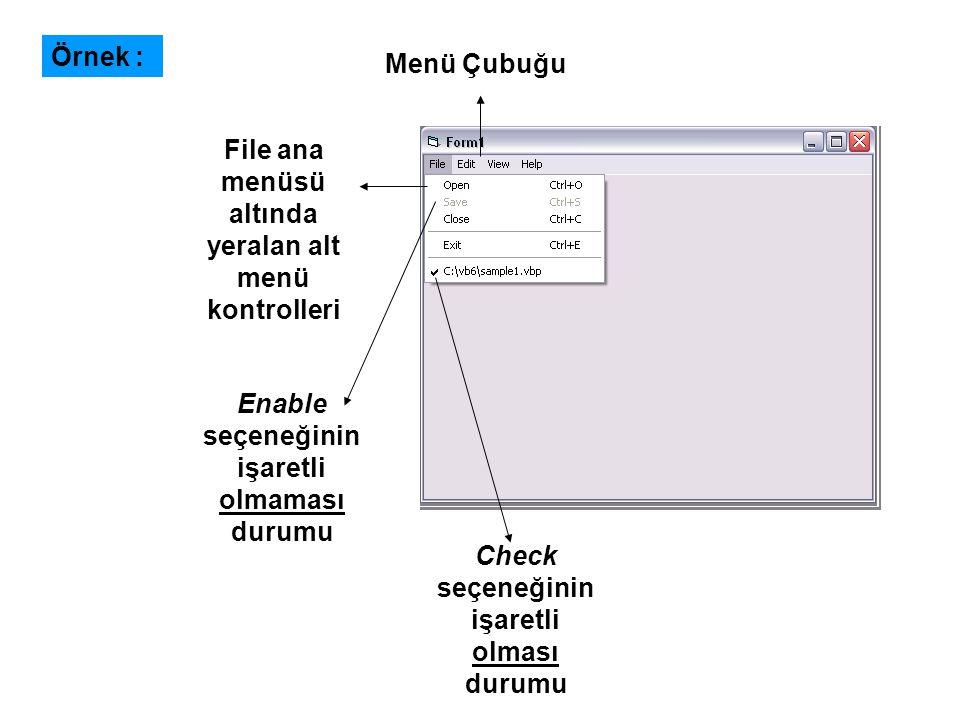 Private Sub Check1_Click() If Check1 = 1 Then Text1.FontBold = True If Check1 = 0 Then Text1.FontBold = False End Sub Private Sub Check2_Click() If Check2 = 1 Then Text1.FontItalic = True If Check2 = 0 Then Text1.FontItalic = False End Sub Private Sub Check3_Click() If Check3 = 1 Then Text1.FontUnderline = True If Check3 = 0 Then Text1.FontUnderline = False End Sub Private Sub Form_Load() Check1.Alignment = 1: Check2.Alignment = 1: Check3.Alignment = 1 Check1.Caption = Kalın Check2.Caption = Eğik Check3.Caption = Altını Çiz Frame1.Caption = Biçimlendirme End Sub Örnek :
