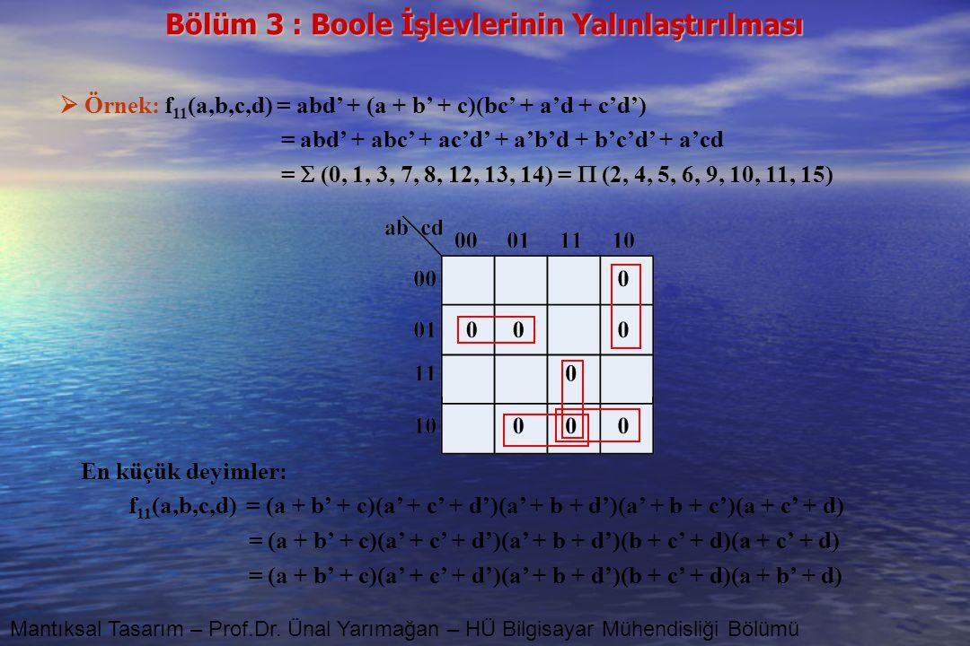 Bölüm 3 : Boole İşlevlerinin Yalınlaştırılması Mantıksal Tasarım – Prof.Dr. Ünal Yarımağan – HÜ Bilgisayar Mühendisliği Bölümü  Örnek: f 11 (a,b,c,d)