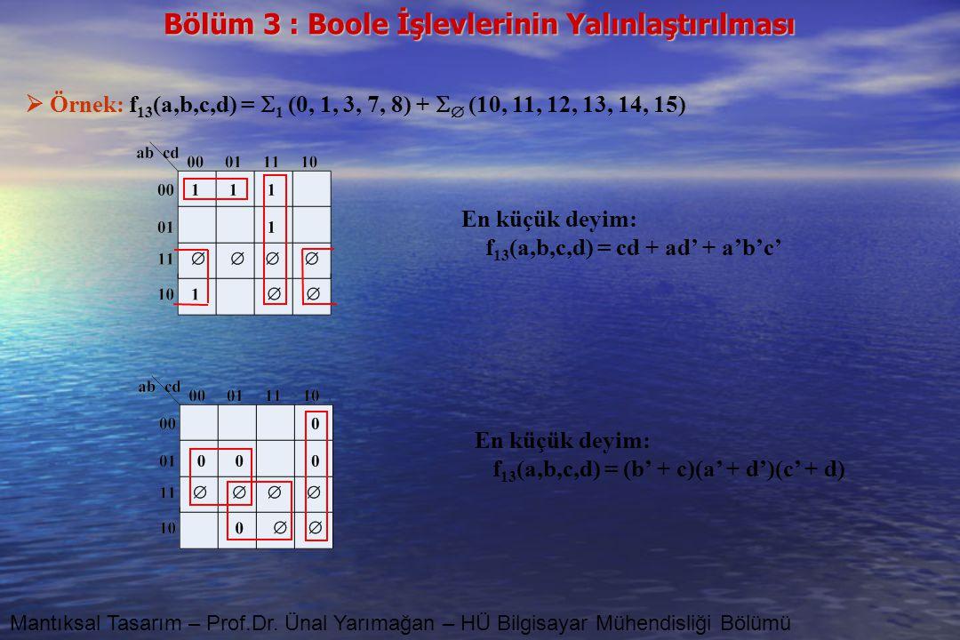 Bölüm 3 : Boole İşlevlerinin Yalınlaştırılması Mantıksal Tasarım – Prof.Dr. Ünal Yarımağan – HÜ Bilgisayar Mühendisliği Bölümü  Örnek: f 13 (a,b,c,d)