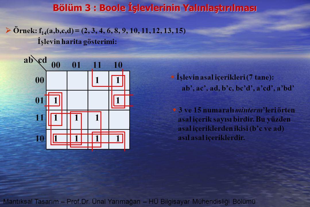 Bölüm 3 : Boole İşlevlerinin Yalınlaştırılması Mantıksal Tasarım – Prof.Dr. Ünal Yarımağan – HÜ Bilgisayar Mühendisliği Bölümü  Örnek: f 14 (a,b,c,d)