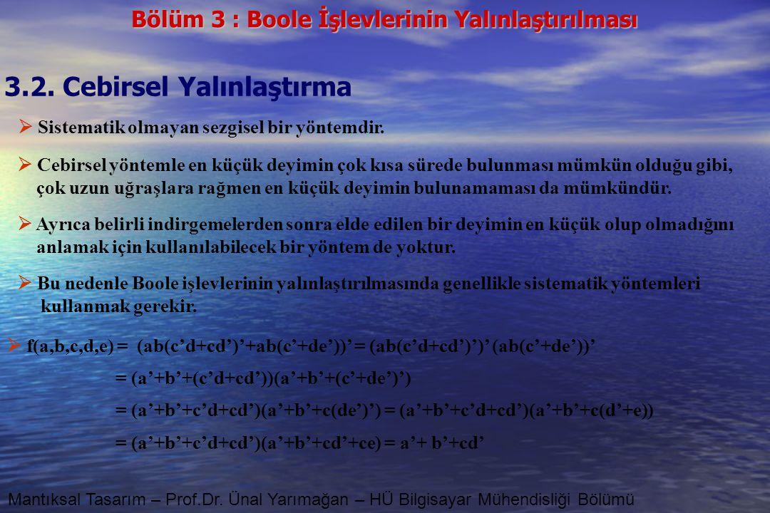 Bölüm 3 : Boole İşlevlerinin Yalınlaştırılması Mantıksal Tasarım – Prof.Dr. Ünal Yarımağan – HÜ Bilgisayar Mühendisliği Bölümü  f(a,b,c,d,e) = (ab(c'
