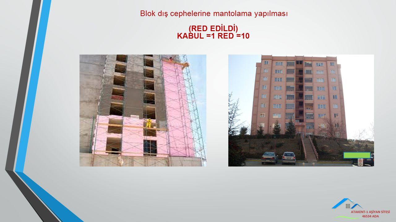 Blok dış cephelerine mantolama yapılması (RED EDİLDİ) KABUL =1 RED =10