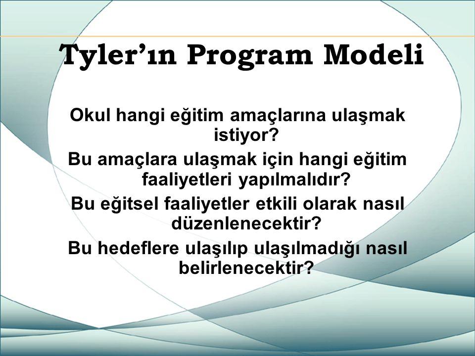 Tyler'ın Program Modeli Okul hangi eğitim amaçlarına ulaşmak istiyor? Bu amaçlara ulaşmak için hangi eğitim faaliyetleri yapılmalıdır? Bu eğitsel faal