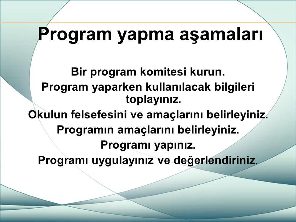 Program yapma aşamaları Bir program komitesi kurun. Program yaparken kullanılacak bilgileri toplayınız. Okulun felsefesini ve amaçlarını belirleyiniz.