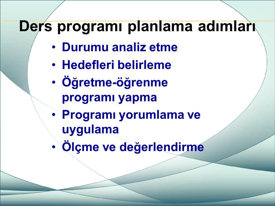 Ders programı planlama adımları Durumu analiz etme Hedefleri belirleme Öğretme-öğrenme programı yapma Programı yorumlama ve uygulama Ölçme ve değerlen