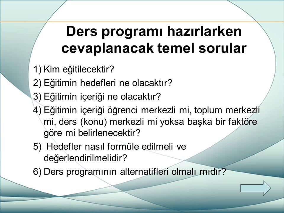 Ders programı hazırlarken cevaplanacak temel sorular 1)Kim eğitilecektir? 2)Eğitimin hedefleri ne olacaktır? 3)Eğitimin içeriği ne olacaktır? 4)Eğitim