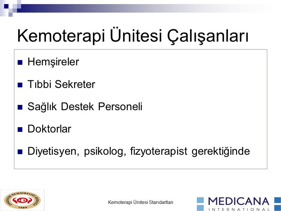 Kemoterapi Ünitesi Standartları Kemoterapi Ünitesi Çalışanları Hemşireler Tıbbi Sekreter Sağlık Destek Personeli Doktorlar Diyetisyen, psikolog, fizyoterapist gerektiğinde
