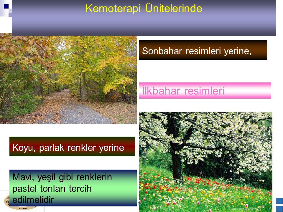 Kemoterapi Ünitesi Standartları Sonbahar resimleri yerine, İlkbahar resimleri Koyu, parlak renkler yerine Mavi, yeşil gibi renklerin pastel tonları tercih edilmelidir Kemoterapi Ünitelerinde