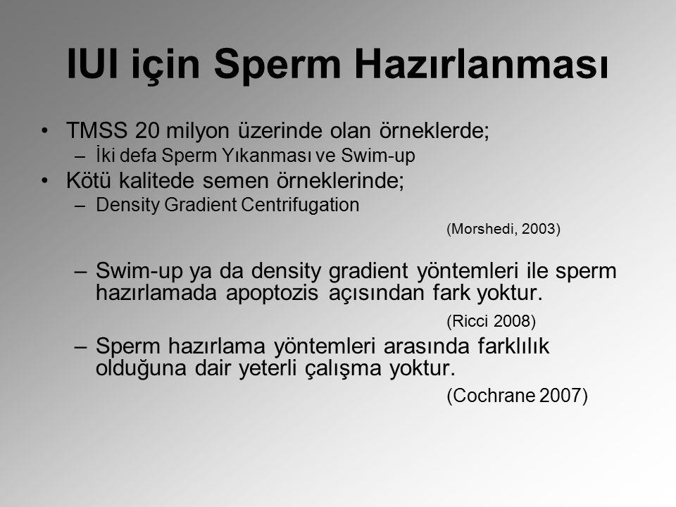 IUI için Sperm Hazırlanması TMSS 20 milyon üzerinde olan örneklerde; –İki defa Sperm Yıkanması ve Swim-up Kötü kalitede semen örneklerinde; –Density G