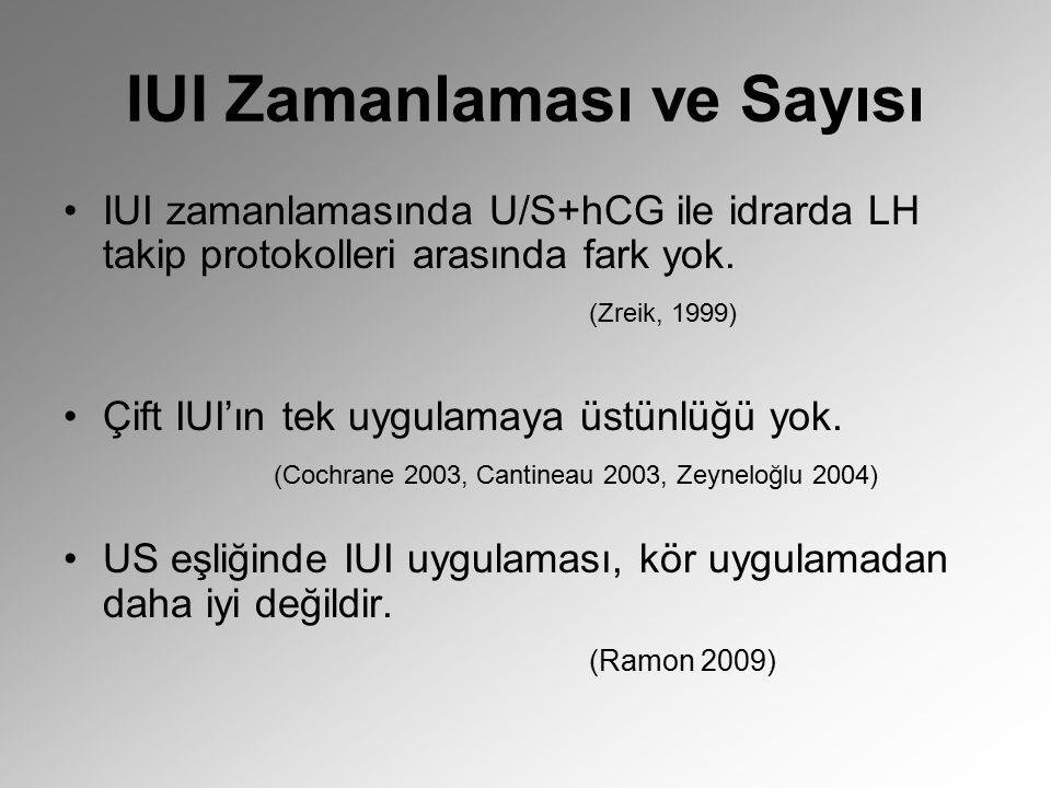 IUI Zamanlaması ve Sayısı IUI zamanlamasında U/S+hCG ile idrarda LH takip protokolleri arasında fark yok. (Zreik, 1999) Çift IUI'ın tek uygulamaya üst