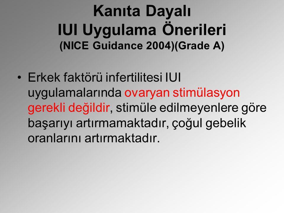 Kanıta Dayalı IUI Uygulama Önerileri (NICE Guidance 2004)(Grade A) Erkek faktörü infertilitesi IUI uygulamalarında ovaryan stimülasyon gerekli değildi