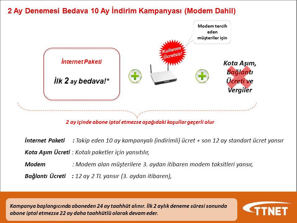 İçerik Kampanya Süresi: 06.02.2012 - 31.03.2012 Yeni bireysel ve kurumsal müşteriler Kampanyaya Dahil Paketler: Bireysel ADSL/ADSL2+ Paketleri: NET6, NETDİSK Hediyeli NETLİMİTSİZ, NETLİMİTSİZ Plus, 8LİMİTSİZ, ULTRANET 5, NETDİSK Hediyeli ULTRANET LİMİTSİZ Bireysel Yalın İnternet Paketleri: Yalın NET6, NETDİSK Hediyeli Yalın NETLİMİTSİZ, Yalın NETLİMİTSİZ Plus, Yalın 8LİMİTSİZ,Yalın ULTRANET 5, NETDİSK Hediyeli Yalın ULTRANET LİMİTSİZ 24 Ay Taahhüt ile ilk 2 Ay Bedava-10 Ay İndirimli İnternet Müşteri bu kampanyadan yararlanmak için 24 aylık kampanya taahhütnamesi imzalar Abonelik iptali yaptıktan sonraki ilk 3 ay içinde gelen müşteriler bu kampanyadan yararlanamaz.