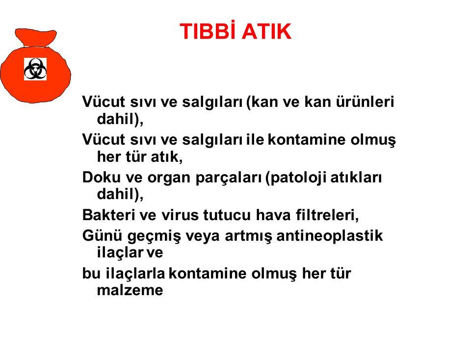 TIBBİ ATIK Vücut sıvı ve salgıları (kan ve kan ürünleri dahil), Vücut sıvı ve salgıları ile kontamine olmuş her tür atık, Doku ve organ parçaları (pat