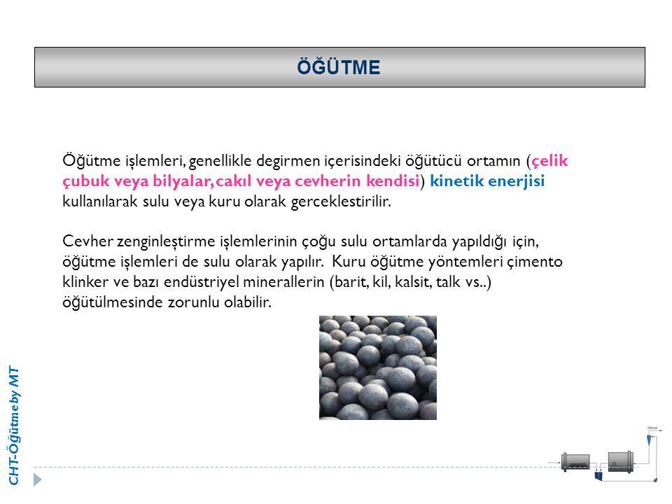 CHT-Ö ğ ütme by MT ÖĞÜTME Ö ğ ütme işlemleri, genellikle degirmen içerisindeki ö ğ ütücü ortamın (çelik çubuk veya bilyalar, cakıl veya cevherin kendi