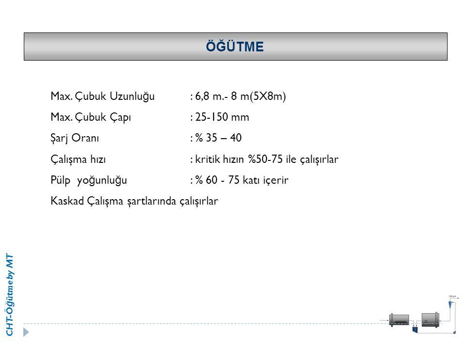 CHT-Ö ğ ütme by MT ÖĞÜTME Max. Çubuk Uzunlu ğ u: 6,8 m.- 8 m(5X8m) Max. Çubuk Çapı: 25-150 mm Şarj Oranı: % 35 – 40 Çalışma hızı: kritik hızın %50-75