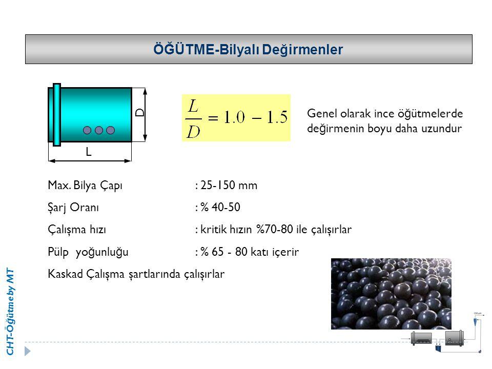 CHT-Ö ğ ütme by MT ÖĞÜTME-Bilyalı Değirmenler Max. Bilya Çapı: 25-150 mm Şarj Oranı: % 40-50 Çalışma hızı: kritik hızın %70-80 ile çalışırlar Pülp yo