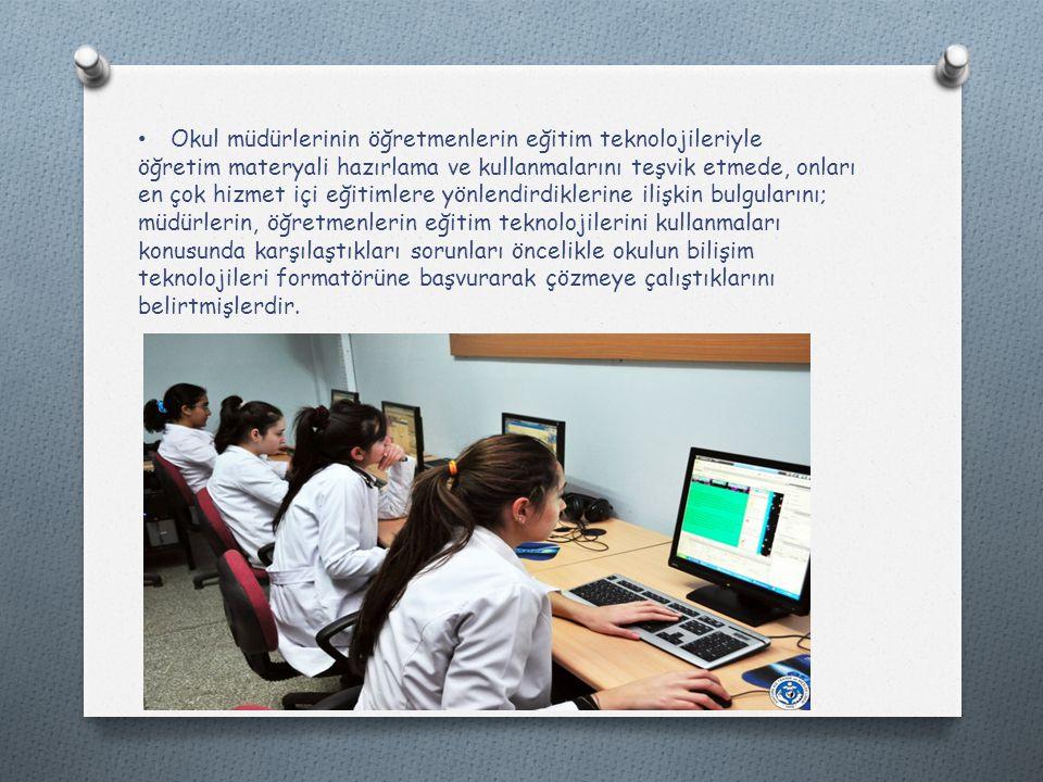 Okul müdürlerinin öğretmenlerin eğitim teknolojileriyle öğretim materyali hazırlama ve kullanmalarını teşvik etmede, onları en çok hizmet içi eğitimlere yönlendirdiklerine ilişkin bulgularını; müdürlerin, öğretmenlerin eğitim teknolojilerini kullanmaları konusunda karşılaştıkları sorunları öncelikle okulun bilişim teknolojileri formatörüne başvurarak çözmeye çalıştıklarını belirtmişlerdir.