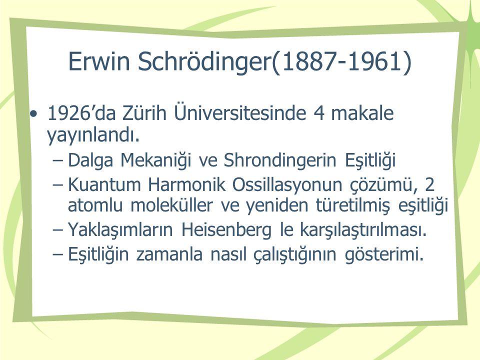 Erwin Schrödinger(1887-1961) 1926'da Zürih Üniversitesinde 4 makale yayınlandı.