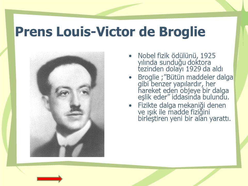 Prens Louis-Victor de Broglie Nobel fizik ödülünü, 1925 yılında sunduğu doktora tezinden dolayı 1929 da aldı Broglie ; Bütün maddeler dalga gibi benzer yapılardır, her hareket eden objeye bir dalga eşlik eder iddasında bulundu.