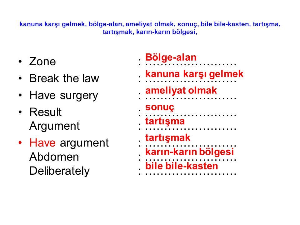kanuna karşı gelmek, bölge-alan, ameliyat olmak, sonuç, bile bile-kasten, tartışma, tartışmak, karın-karın bölgesi, Zone: …………………… Break the law: …………