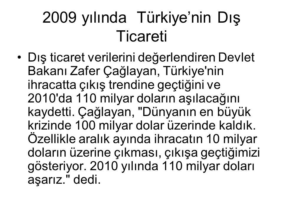 2009 yılında Türkiye'nin Dış Ticareti Dış ticaret verilerini değerlendiren Devlet Bakanı Zafer Çağlayan, Türkiye'nin ihracatta çıkış trendine geçtiğin