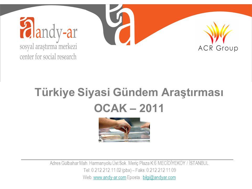 Türkiye Siyasi Gündem Araştırması OCAK – 2011 Adres Gülbahar Mah.