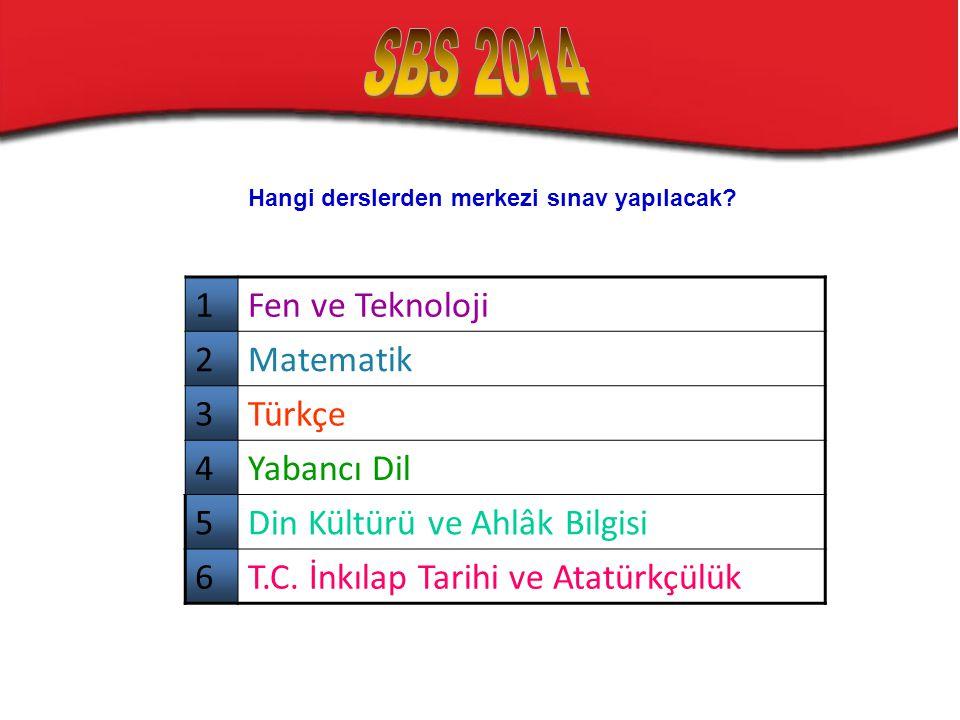 Hangi derslerden merkezi sınav yapılacak? 1Fen ve Teknoloji 2Matematik 3Türkçe 4Yabancı Dil 5Din Kültürü ve Ahlâk Bilgisi 6T.C. İnkılap Tarihi ve Atat