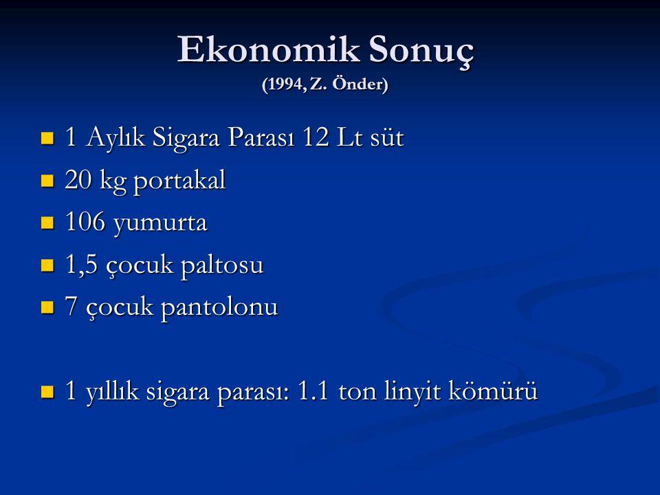 Ekonomik Sonuç (1994, Z. Önder) 1 Aylık Sigara Parası 12 Lt süt 1 Aylık Sigara Parası 12 Lt süt 20 kg portakal 20 kg portakal 106 yumurta 106 yumurta
