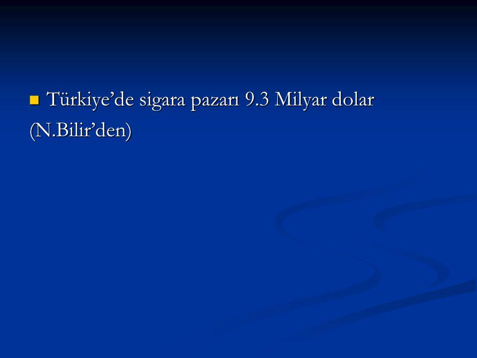 Türkiye'de sigara pazarı 9.3 Milyar dolar Türkiye'de sigara pazarı 9.3 Milyar dolar(N.Bilir'den)