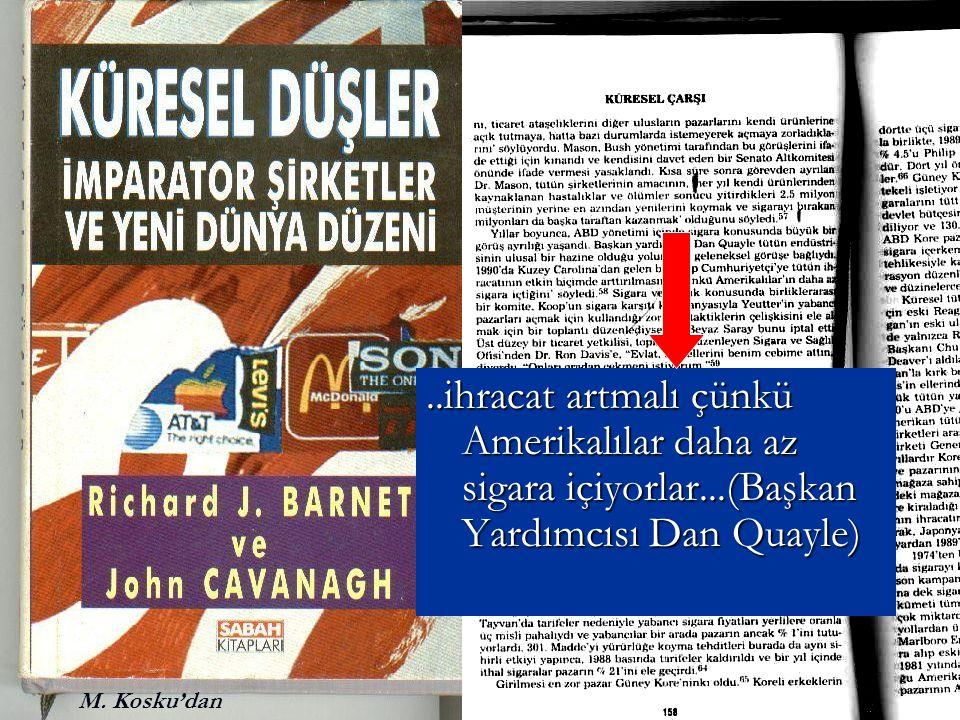 ..ihracat artmalı çünkü Amerikalılar daha az sigara içiyorlar...(Başkan Yardımcısı Dan Quayle) M. Kosku'dan