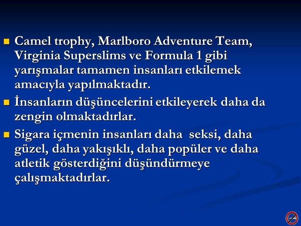 Camel trophy, Marlboro Adventure Team, Virginia Superslims ve Formula 1 gibi yarışmalar tamamen insanları etkilemek amacıyla yapılmaktadır. Camel trop