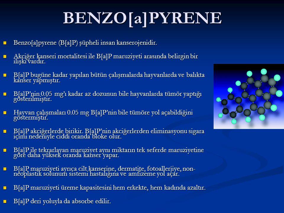 BENZO[a]PYRENE Benzo[a]pyrene (B[a]P) şüpheli insan kanserojenidir. Benzo[a]pyrene (B[a]P) şüpheli insan kanserojenidir. Akciğer kanseri mortalitesi i