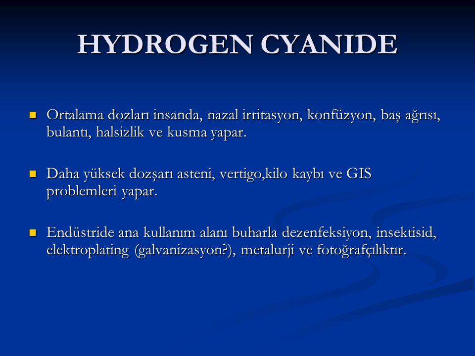 HYDROGEN CYANIDE Ortalama dozları insanda, nazal irritasyon, konfüzyon, baş ağrısı, bulantı, halsizlik ve kusma yapar. Ortalama dozları insanda, nazal