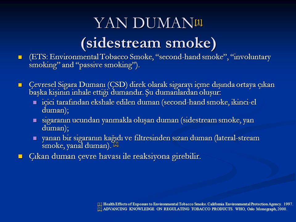 "YAN DUMAN [1] (sidestream smoke) [1] (ETS: Environmental Tobacco Smoke, ""second-hand smoke"", ""involuntary smoking"" and ""passive smoking""). (ETS: Envir"