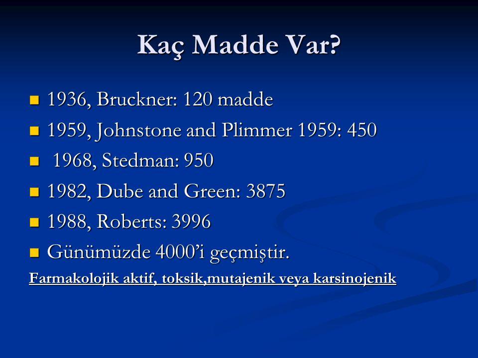 Kaç Madde Var? 1936, Bruckner: 120 madde 1936, Bruckner: 120 madde 1959, Johnstone and Plimmer 1959: 450 1959, Johnstone and Plimmer 1959: 450 1968, S