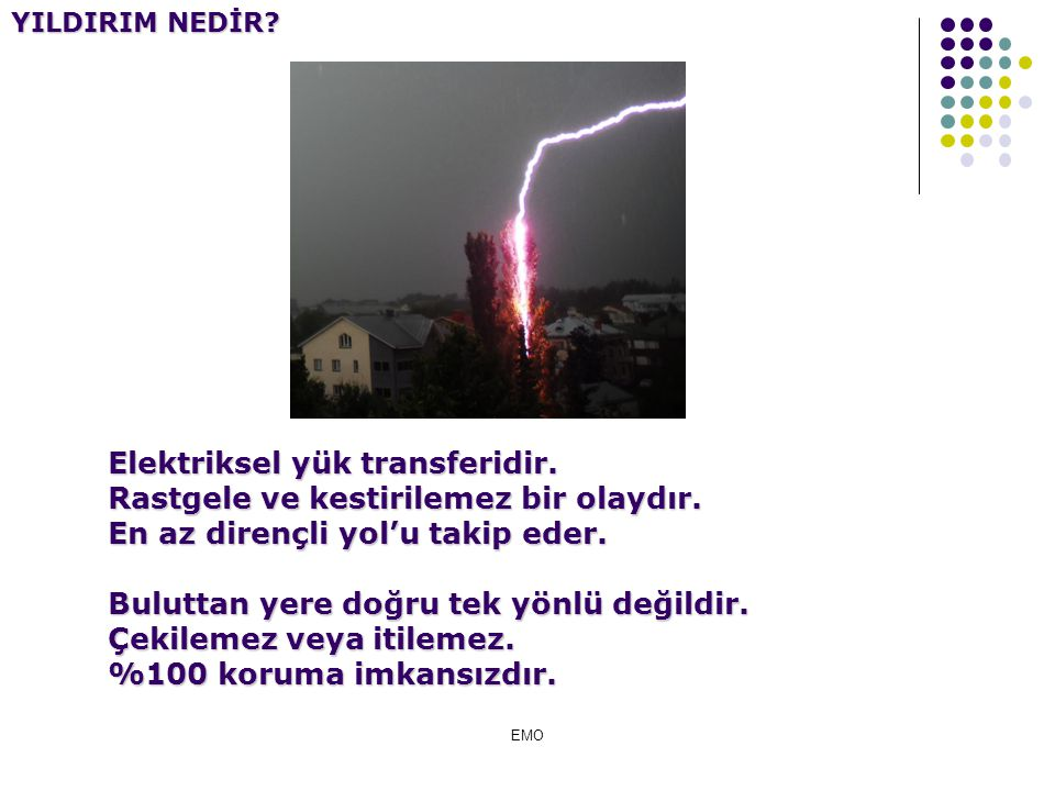 Tipik yıldırım:100kV, 6kA Güç çok yüksek: 600 MW (keban 1330 MW) Zaman çok kısa: 10 s (mikrosaniye) 6 kWs enerji (kilowatsaniye) Bu enerjiyle 100W bi