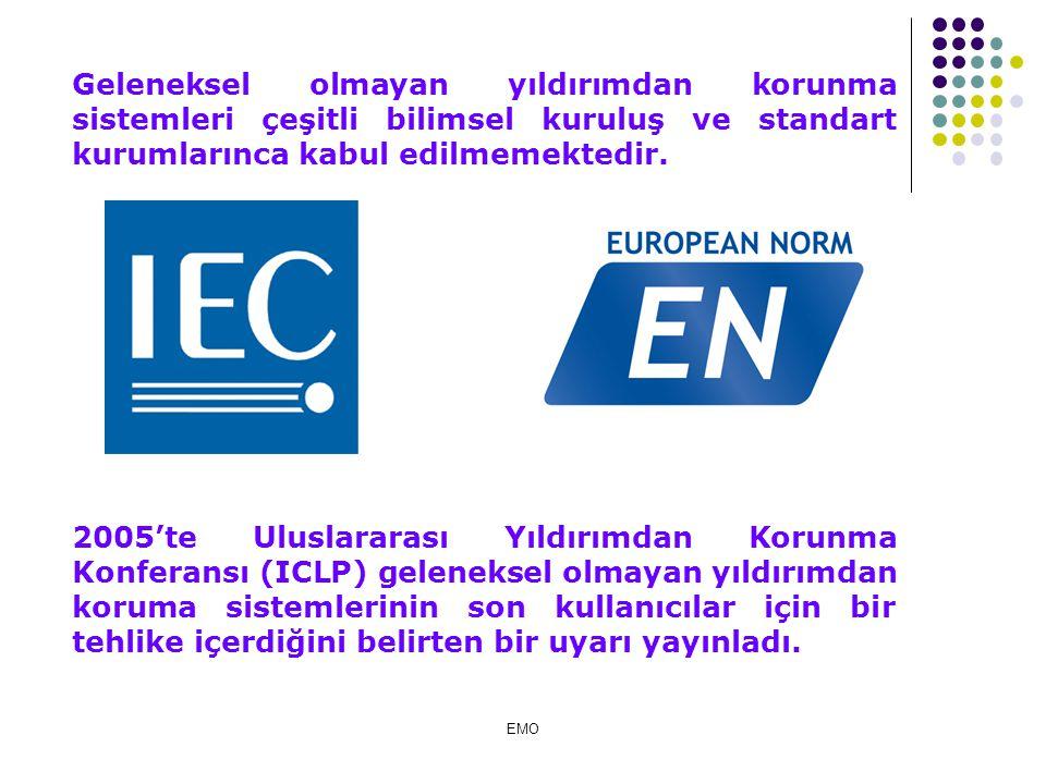 ESE Erken akım yayan hava bağlantı uçları kullanılarak yapıların ve açık alanların yıldırıma karşı korunması EMO