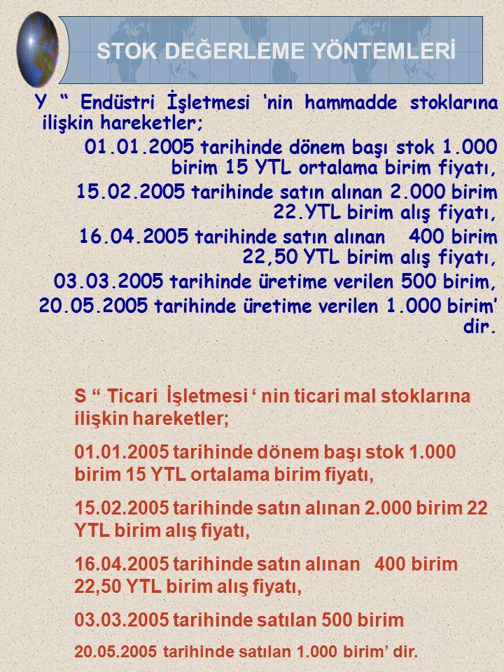 """Y """" Endüstri İşletmesi 'nin hammadde stoklarına ilişkin hareketler; 01.01.2005 tarihinde dönem başı stok 1.000 birim 15 YTL ortalama birim fiyatı, 15."""
