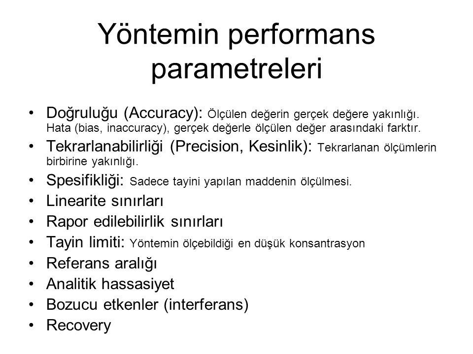 Yöntemin performans parametreleri Doğruluğu (Accuracy): Ölçülen değerin gerçek değere yakınlığı. Hata (bias, inaccuracy), gerçek değerle ölçülen değer