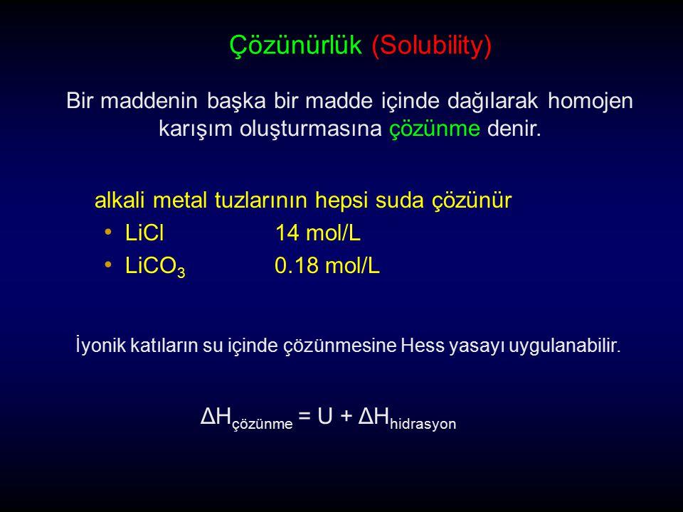 alkali metal tuzlarının hepsi suda çözünür LiCl14 mol/L LiCO 3 0.18 mol/L Çözünürlük (Solubility) Bir maddenin başka bir madde içinde dağılarak homoje